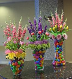 Colorful Easter flower display by Crossroads Florist, Mahwah NJ. Fill with color for sex of the baby