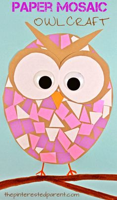 Construction paper mosaic owl craft - easy arts and craft for kids and preschoolers. Great for cutting and scissor skills. Owl Crafts Preschool, Animal Crafts For Kids, Bird Crafts, Paper Crafts For Kids, Easy Crafts For Kids, Toddler Crafts, Fun Crafts, Art For Kids, Craft With Paper