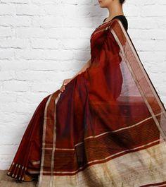 Maroon Cotton Silk Maheshwari Saree