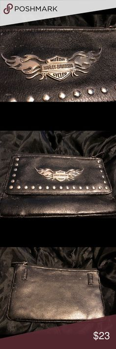 Harley Davidson wallet Harley Davidson wallet black leather has scuffs all zippers work. If you love Harley Davidson you will love this❤️ Harley-Davidson Other