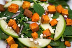 Roasted Sweet Potatoe, Apple and Spinach Salad: This is one of my all-time favourite meals! Grilled Vegetable Salads, Vegetable Pasta, Grilled Vegetables, Sweet Potato And Apple, Salad With Sweet Potato, Potato Salad, Veggie Recipes, Salad Recipes, Vegetarian Recipes