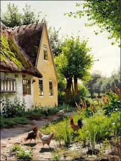 Peder Monsted Summer day with chickens in the backyard of a farm.jpg! (526x700, 196Kb)