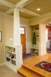 Entry, column, built-ins, bench, ceiling