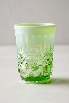 Opalescent Tumblers. Available in green and blue. They are pricey, but have 45 5-Star reviews Anthropologie.com