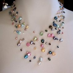 Multi strand pearl illusion necklace, floating necklace - Bridesmaid gifts (*Amazon Partner-Link)