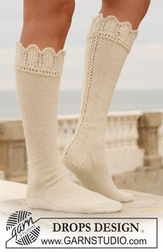 """Ravelry: Long socks in """"Alpaca"""" with lace border pattern by DROPS design Drops Design, Lace Knitting, Knitting Socks, Knitting Patterns, Boot Cuffs, Boot Socks, Crochet Socks, Knit Crochet, Lace Border"""