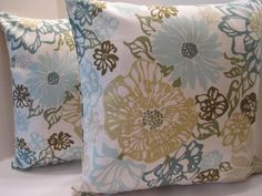 Pillow Cover Teal Aqua Turquoise Olive Green Floral  by vertzvkv, $26.00