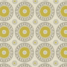 Asha Pewter Fabric by the Yard, Bold Suzani pattern of chartreuse, gray and taupe in a high/low weave of thick poly-rayon. Repeat: Non-railroaded fabric with 15 repeat . Suzani Fabric, Linen Fabric, Grey Fabric, Yellow Fabric, Floral Fabric, Fabric Patterns, Print Patterns, Fabric Wallpaper, Wallpaper Ideas