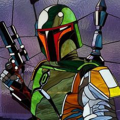 Stained glass picture Boba Fett by Art-Brother on DeviantArt Stained Glass Cookies, Stained Glass Quilt, Stained Glass Birds, Faux Stained Glass, Stained Glass Designs, Stained Glass Projects, Stained Glass Patterns, Mosaic Art, Mosaic Glass