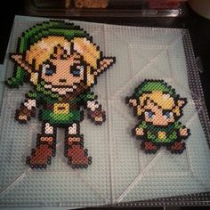 LoZ Link perler beads by absolutely adorable :D Diy Perler Beads, Perler Bead Art, Pearler Beads, Fuse Beads, Pearler Bead Patterns, Perler Patterns, Geek Crafts, Cute Crafts, Pixel Art
