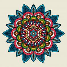 Doodle boho floral colored mandala vector image on VectorStock Mandala Art, Mandala Drawing, Mandala Design, Colorful Mandala Tattoo, Mandala Doodle, Tatuagem Pin Up, Background Patterns, Traditional Tattoo, Body Art Tattoos