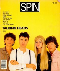 Talking Heads on the cover of Spin, June 1985.