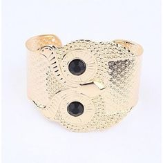 Gold Owl Black Eyes Cuff Bracelet