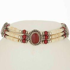 Apache Style Red Bone Choker Silver Wood Beaded