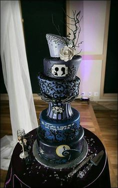 I love the unbalanced balance, nightmare before Xmas wedding cake