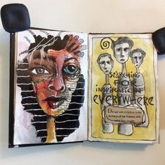 In my journal. Art Journal Pages, Art Journals, Truck Art, Abstract Faces, Funky Art, Face Art, Art Faces, Human Art, Sketchbook Inspiration