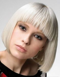 Platinum blunt bob with bangs hair