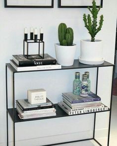 modern boho, boho home, contrast, cactus, cacti, bookshelf, book lover, black and white, minimal, minimalist, minimalism, home decor