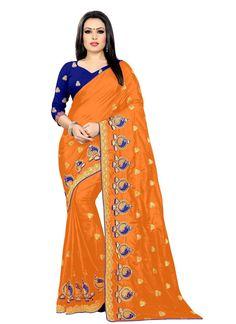 Embroidered Orange Silk Classic Saree