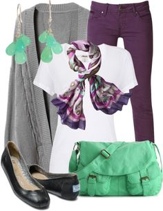 A fashion look from January 2013 featuring loose fitting tops, slim fit t shirts and purple jeans. Browse and shop related looks. Casual Outfits, Cute Outfits, Fashion Outfits, Womens Fashion, Fashion Trends, Ladies Fashion, Fashion Pants, Teen Fashion, Fashion Ideas