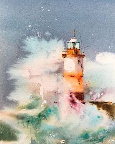 ⠀The choice is made by . Watercolor by If you want to get into the tape of Watercolor Projects, Watercolor Artwork, Watercolor Sketch, Watercolor Artists, Watercolor Print, Watercolor Illustration, Seascape Paintings, Nature Paintings, Lighthouse Painting