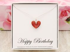 Birthday gift 925 sterling silver Heart necklace by SilverStamped