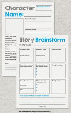 Ultimate Novel Planning Kit Printable by ButterflyandBear on Etsy