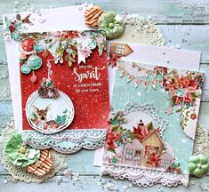 2 pretty Christmas cards with matching envelopes created with Mintay Papers Christmas Stories paper pad. Christmas Paper Crafts, Christmas Scrapbook, Christmas Cards To Make, Vintage Christmas Cards, A Christmas Story, Xmas Cards, All Things Christmas, Handmade Christmas, Holiday Cards