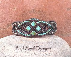 Turquoise Silver Beaded Leather Wrap Cuff by BarbSmithDesigns