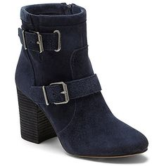Vince Camuto Simlee- Double Buckle Block Heel Bootie ($159) ❤ liked on Polyvore featuring shoes, boots, ankle booties, dark navy verona, navy blue ankle boots, block heel booties, vince camuto booties, bootie boots and double buckle boots