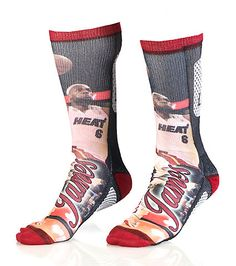 FOR BARE FEET Lebron James Miami Heat crew sock Stretch fabric for ultimate comfort Moisture resistant Padded heel for performance