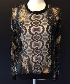 CAbi #572 Large L Dressed Up Sheer Chiffon Python Printed Sweatshirt Blouse Top #CAbi #Blouse #Any