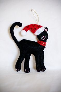 Black Felt Cat Christmas Decoration Christmas by KarenKattCrafts, $10.00