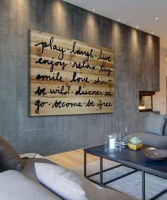DIY inspiration-'Play Laugh Live' Wood Wall Art