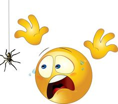 "Yikes/scared Smiley.   (no words - ""Scared spider  #emoji #lol #emoticons"")      (Pinned also to GT/MS - **comments/expressions/cards/other messages, N.O.C.)   --Smiley Face"
