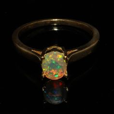 Natural Opal Ring - Golden Rhodium Plated Ring - Opal Jewelry - Handmade Ring - US 2 To US 13 - October Birthstone Ring