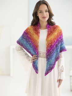 Get to know Shawl in a Ball with this stunning knit Sedona Triangle Shawl! Shown in Restful Rainbow, this pattern uses just one ball of yarn and circular needles 29 inches Size 10.
