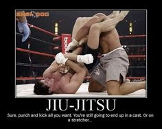 Brazilian jiu jitsu- You can try to punch me in the face when i'm down, but be warned; i'm keeping that arm.//