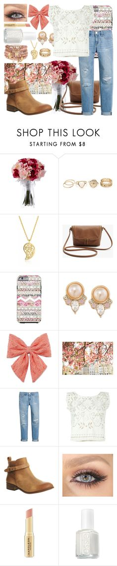 """""""Peachy Little Thing"""" by wisdomgoddess22 ❤ liked on Polyvore featuring beauty, Sonal Bhaskaran, Carolee, Decree, White House Black Market, Forte Forte, Office, Napoleon Perdis, Essie and Accessorize"""