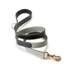 Dog Collars and Leashes / Leather Lead Black/Grey by LoveThyBeast