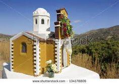 Miniature greek orthodx chapel on roadside to Matala, Crete Island, Greece, Europe ...