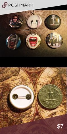 American horror story buttons 6 American horror story buttons   ❤️You get all 6 buttons with purchase  ❤️these are metal buttons with a plastic back and a metal pin. ❤️These are 1inch so they are about the size of a quarter ❤️if you ever have a problem with a product please contact me before giving a bad rating  •have any questions??? Feel free to comment and I'll respond as soon as I can!!! :) ❤Open to reasonable offers!☺️ ~tags~ Tate langdon murder house asylum coven freak show hotel…
