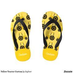 Yellow Tractor Custom Kid's Flip Flops