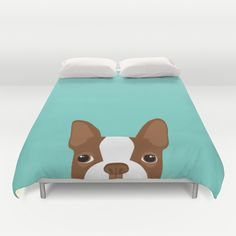 Red Boston Terrier Duvet Cover