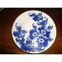 Prato Zappi De Porcelana Azul E Branco