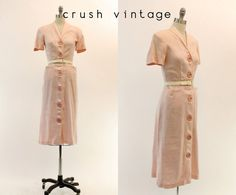 40er Jahre Kleid Leinen klein / 1940er Jahre von CrushVintage
