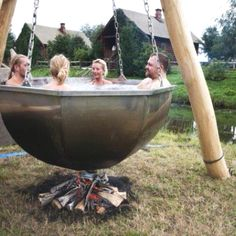 I have no fitting words, my laughter over cometh me! This must be the redneck hot tub deluxe version!
