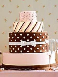 Polka Dots and Stripes Wedding Cake.