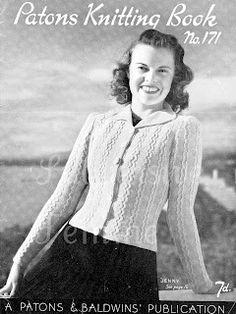 The Vintage Pattern Files: 1940s Knitting - Jenny Cardigan