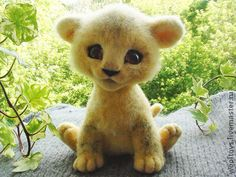 "*NEEDLE FELTED ART ~ Marseille, sounds good! A suitable name for the king of beasts !!! And while it is not yet the king and not the lion+the little lion cub, funny, curious + a little awkward. Will bring a smile to your house and a bit of sun! Made in mixed technique of felting, eyes, the author's signature, weighted granulate. When ordering, the price of 5200 rubles.Animal toys, handmade. Fair Masters - handmade. Buy Lion ""Marseille"". Handmade. Author toy lion"